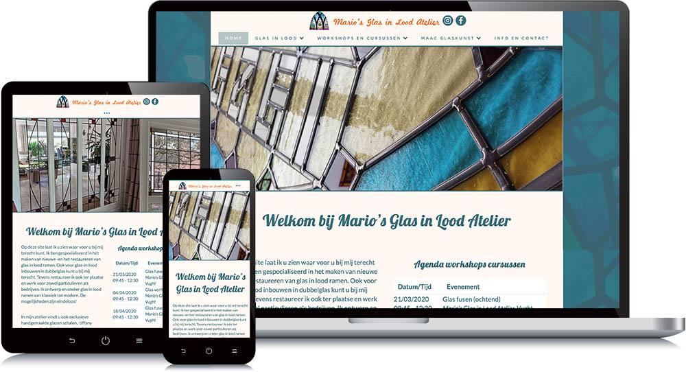 Website Mario's Glas in Lood Atelier Vught
